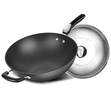 LZ Wok de Hierro y Acero al Carbono con Fondo Redondo, sartenes para freír para cocinar, ...