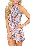 Spadehill Womens Cute Summer Strap Cotton Playsuit Sleeveless Casual Floral Print Beach Boho Short Romper Jumpsuit Pink M