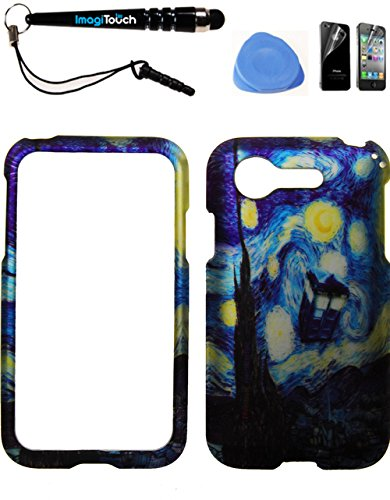 IMAGITOUCH ® LG Optimus Zone 2 Fuel L34C VS415PP (Verizon Prepaid) Rubberized 2D Design Case Cover Protector Doctor Who Tardis Police Box Van Gogh Starry Night 4-Item Combo: Phone Cover, Screen Protector, Stylus Pen, Pry Tool (Lg Optimus Fuel Prepaid Phone compare prices)