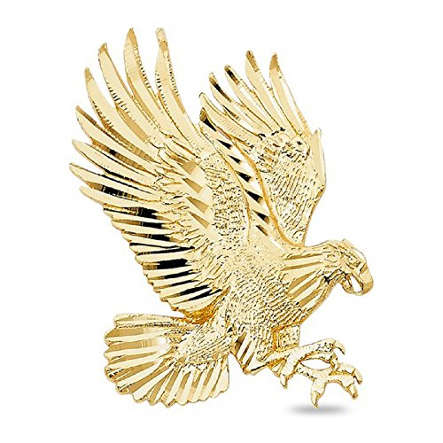 Eagle Pendant 14k Solid Yellow Gold Bird Charm Diamond Cut Polished Style Genuine Fancy 42 x 30 (Yellow Gold Bird Charm)
