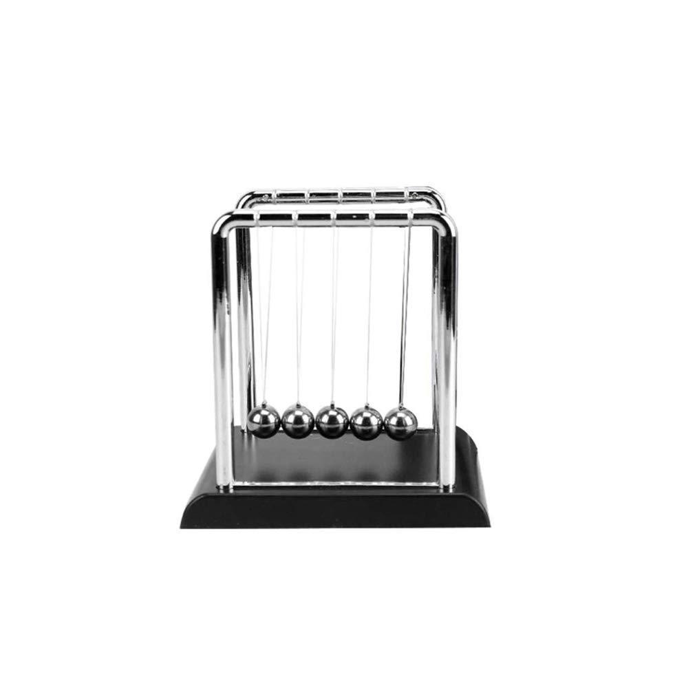 Cinlla Physics Science Energy Conservation Laws Newton Cradle Balance Pendulum Metal Ball Home Office Decor Teaching Tool Black Small Type