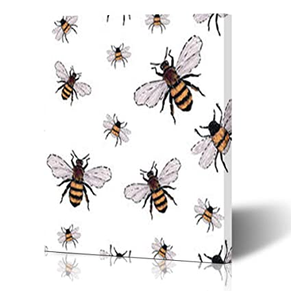 Amazon.com: Canvas Print Wall Art Embroidery Big Honey Bee Small ...