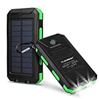 FLOUREON 10000mAh Solar Charger Power Ba...