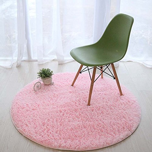 Lee D.Martin Children Area Rugs Ultra Cozy Round Rugs Kids' Room Décor Carpets Modern Shaggy Area Rugs Anti-Slip Backed Home Décor Rug,Diameter 47.3 inches,Pink by Lee D.Martin