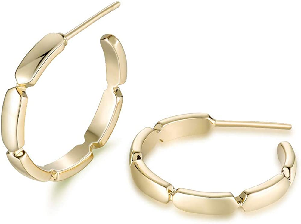 Diameter 20mm Agvana Gold Filled Polished Minimalist Bamboo Circle Open Small Hoop Earrings Fashion Jewelry Gifts for Women Girls