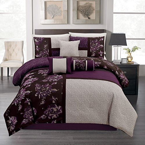 7-piece Purple Black Gray Quilted Jacquard Floral Patchwork Comforter Set Queen