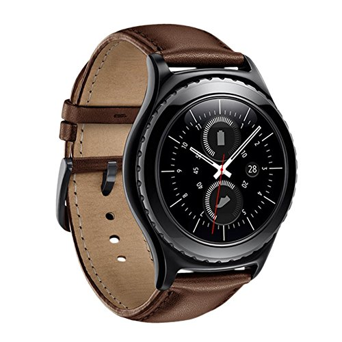 Fwheel Compatible with Samsung Gear S2 Classic/Gear Sport/Galaxy Watch 42MM Armband, 20MM Genuine Leather Smart Watch Replacement Band Strap with Stainless Steel Watch Buckle(Brown Leather S2)