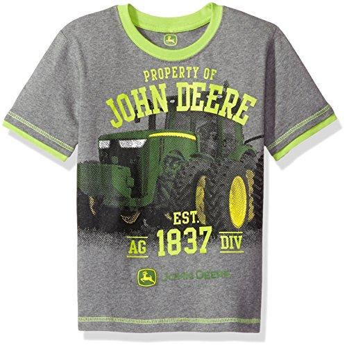 John Deere Big Boys' Property Tractor Tee, Medium Heather Grey/Lime, 6