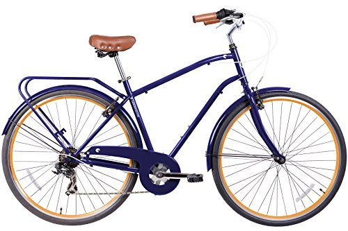 Gama Bikes Men's Cruiser Step-Thru 7 Speed Shimano Hybrid Urban Commuter Bicycle, 21