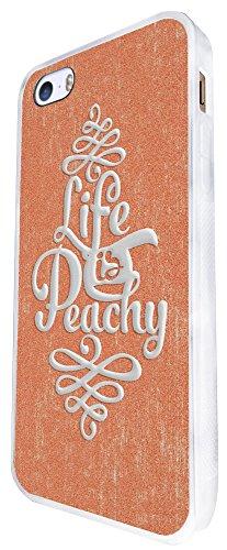 702 - Life Is Peachy Design iphone SE - 2016 Coque Fashion Trend Case Coque Protection Cover plastique et métal - Blanc