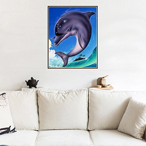 Dolphin Lovers Full Drill All Square DIY 5D Diamond Painting Kit for Adults Rhinestone Embroidery Cross Stitch set Arts Craft Gift HOT SALE ! ❤️ ZYEE (E)