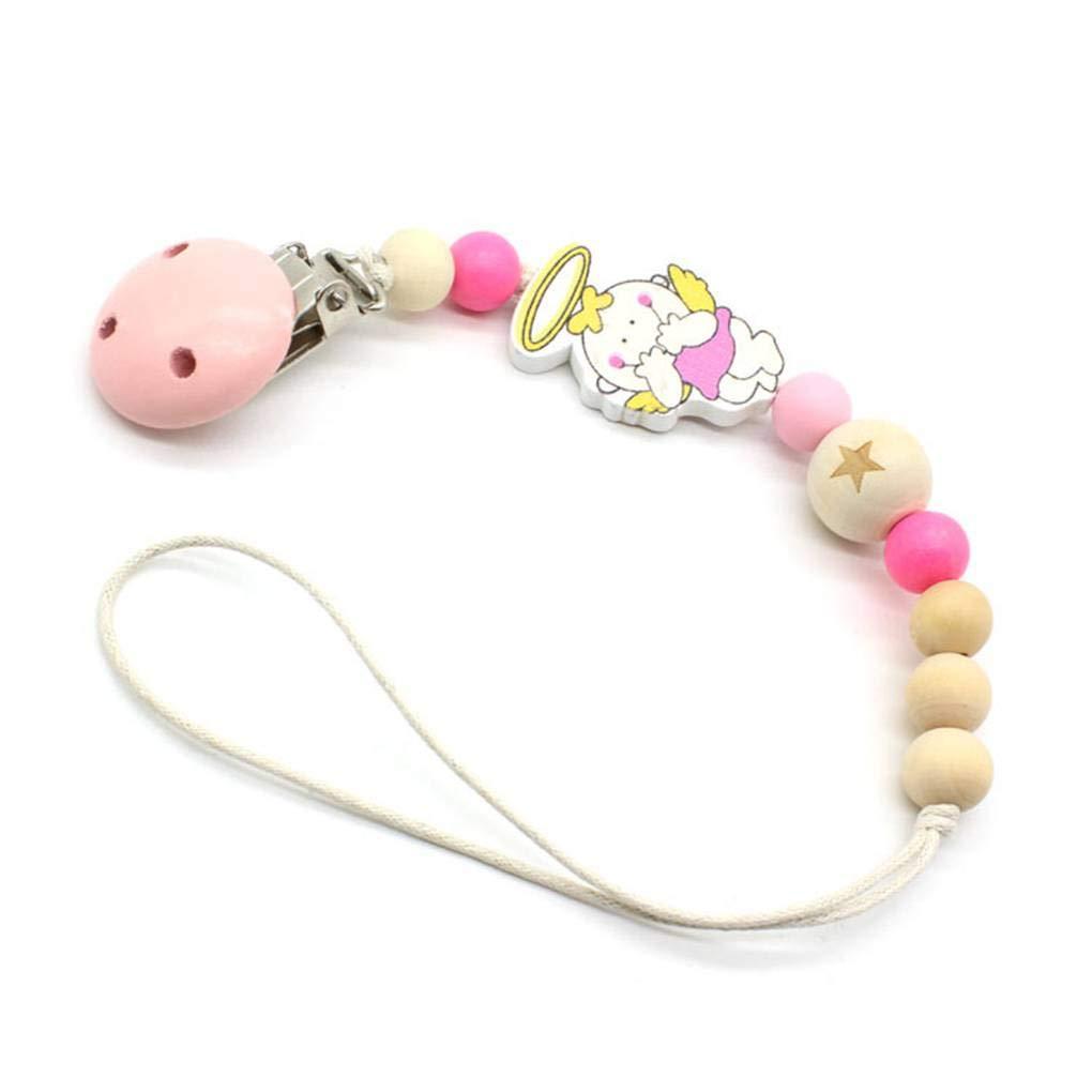 Bâton en bois de hêtre bébé Teething naturel Cartoon Pacifier Porte-chaîne clip perles Kid Chew Fighting