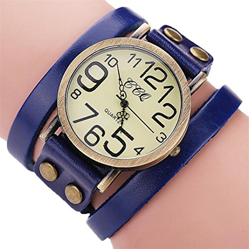 Hunputa Luxury Brand Vintage Cow Leather Bracelet Watch Men Women Wristwatch Ladies Dress Quartz Watch (Blue) ()