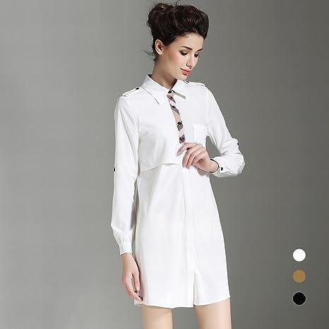 X skirt Blanco Camisa de Estilo Vestido Femenino de Manga Larga Suelta de Gran Tamaño una Palabra Falda Mujeres Caída,Blanco,S: Amazon.es: Deportes y aire libre