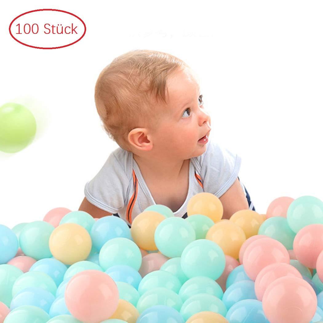 kigins 100 Bällebadbälle Ø 5, 5cm Bälle-Set für Bällebad Bunte Spielbälle Kinder-Bälle für Bällebad-Pool Plastikbälle Babybälle | 3 gemischte Pastell-Farben