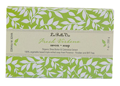 La Belle Vie 100% Vegetable Based Triple Milled Exfoliating Soap, Organic Shea Butter, Calendula Extract, Invigorating, Made in France, Paraben Free - Fresh Verbena, 7 oz - Shea Butter Verbena Refreshing