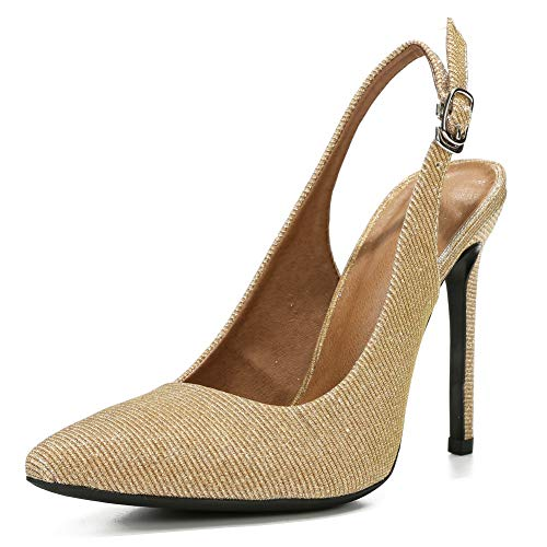 (LIURUIJIA Womens Office Basic Slip on Pumps Slingback Stiletto High-Heel Pointy Toe Shoes for Party Dress Gold sequins-40)