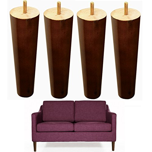 8 inch Wood Sofa Legs Walnut Finished Furniture Feet Replacement Legs Pack of 4 M8 Bolt For Coffee Table IKEA Bed Sideboards Cupboard Dresser