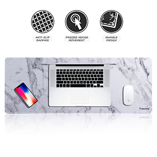 Insten Extra Large Mouse Pad, Marble Extended Computer Mouse Pad XL XXL for Desktop, with Waterproof Coating, Non-Slip Base, Silky Smooth Surface, Durable Stitched Edges - 31.5'' X 12'', White Marble by INSTEN