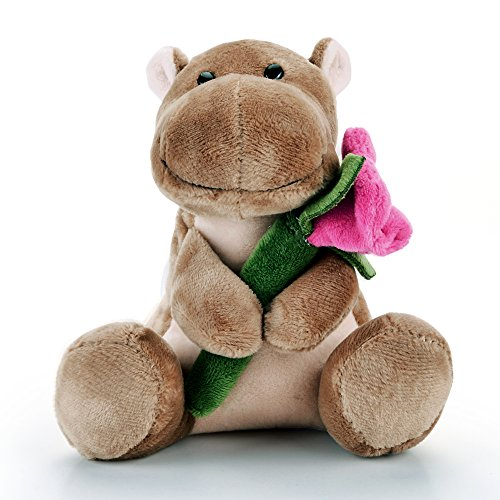 Lazada Plush Hippo Hold Romantic Rose Stuffed Animal Toys Love Valentine's Day Gifts 5