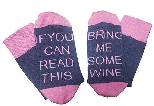 Easyhon Christmas Unisex Women Men wine full cotton socks Xmas If You can read this Socks(Pink,One Size)