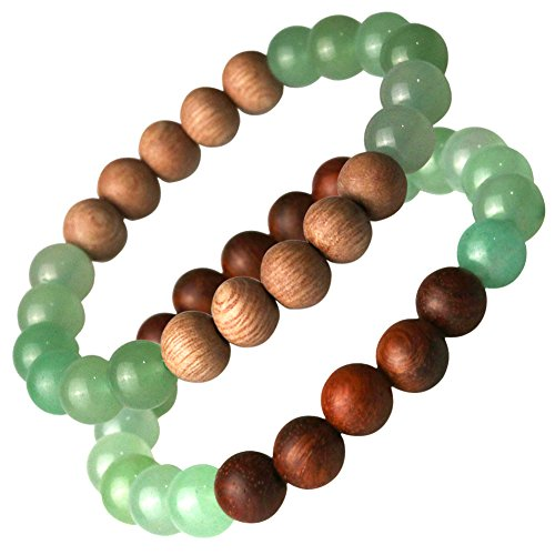 ets Diffuser for Women Men / Aromatherapy Jewelry Bracelet Diffuser Set For Kids Boys Girls / Green Aventurine Rosewood Sandalwood Beads Stone Bracelet 2 Pack (M) (Rosewood Aromatherapy)