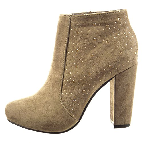 Sopily Damen Mode Schuhe Stiefeletten Low Boots Strass - Taupe