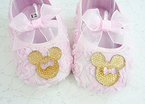 (Baby Girl's Pink Rosette Soft Shoes, Gold Minnie Mouse Inspired Crib Footwear, 1st Birthday, Cake Smash, Photo Prop, Kids Fashions, Size 6-18 mos, Made in the USA.)