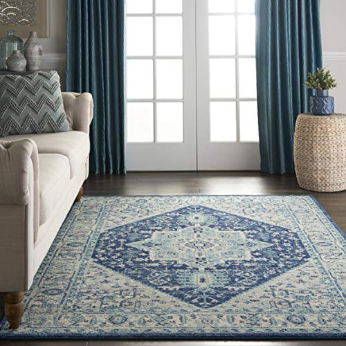 Nourison TRA06 Tranquil Persian Vintage Ivory Navy Area Rug 6 X 9