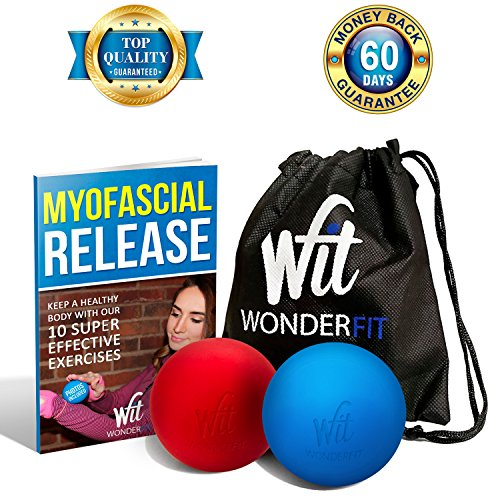 WonderFit Premium Set - 2 Lacrosse Massage Balls for Trigger Point + Easy-to-Carry Canvas Bag + FREE Ebook with