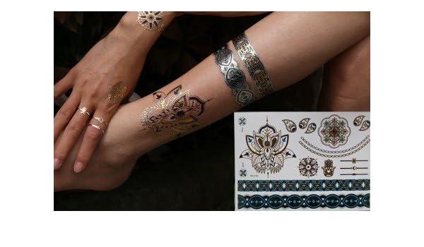 Metallic Tattoo Flash Tattoo Oro Plata Turquesa Tattoo elegante ...