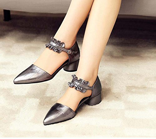 40 Shoes Simple Toe Grey Wedding 34 4cm Women Pure Court Chunkly Pointed Sandals Genuine Pump Lace Shoes Casual Dress Shoes Color Strap Size Belt Leather Eu Buckle Shoes Ankle Heel f7aqnOR