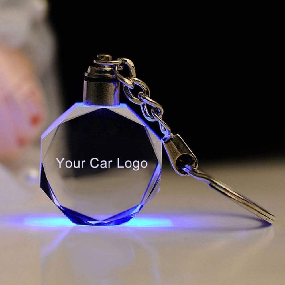 MCYNQ Glow Key Chain Auto Logo LED Cut Glas Keychain Metall Werbung Schw/änze h/ängen Schl/üsselanh/änger Kette Anh/änger Schl/üsselanh/änger f/ür Audi