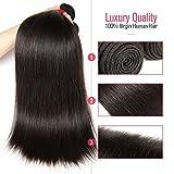 Cheap Moda Mode Human Hair Weave 3 Bundles Virgin Brazilian Hair Straight, Double Weft Virgin Human Hair Extensions Natural Color (12 14 16)