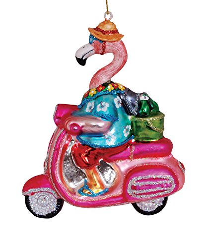 Cape Shore Flamingo on Pink Scooter Blown Glass Christmas Holiday Ornament