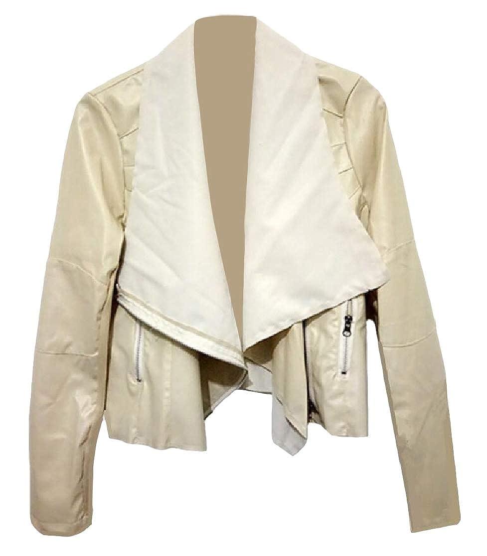 YUNY Women Turn Down Collar Long Sleeve Zipper Slim Pocket Lounge PU Jakcet Pattern1 S