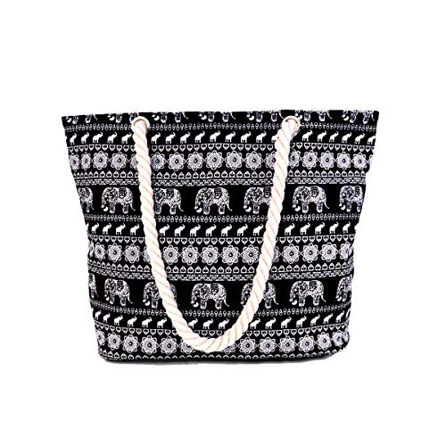 Elephant Pattern Print Shoulder Canvas black1 Large Womens Bag Tote Holiday Beach Ladies Elephant x6wTqt