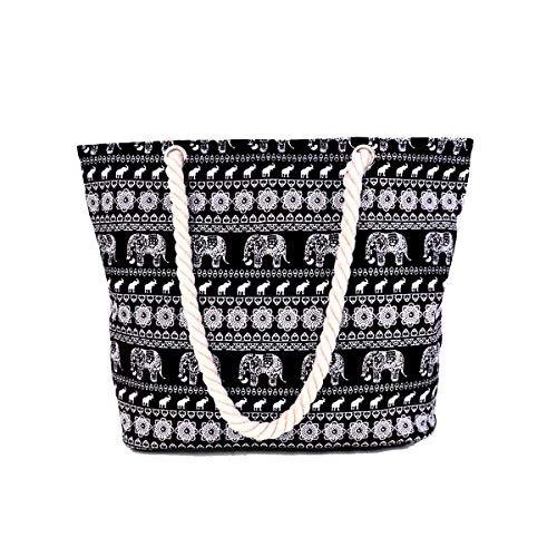 Large Womens Tote Elephant Shoulder Canvas black1 Pattern Ladies Bag Print Holiday Beach Elephant Sq1Af1wC