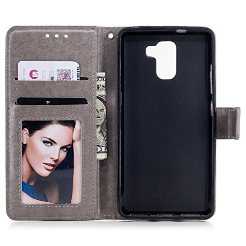Funda Huawei Honor 7, WE LOVE CASE Piel y Tipo Cartera Carcasa Funda Flor Huawei Honor 7 con Tapa Flip Wallet caso de Cuero Billetera Original Funda Que Se Pega con Ranura Para Tarjeta Card Holder y S Grey