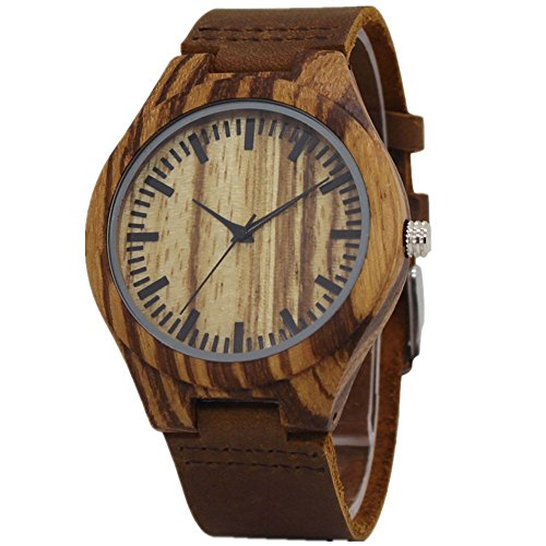 Tjw Mens Natural Wooden Watches Japanese Analog Quartz Movement Watch Handmade Vintage Casual Wrist Watch Cowhide Leather Strap Watch Brown 8023 2M  Zebra Wood