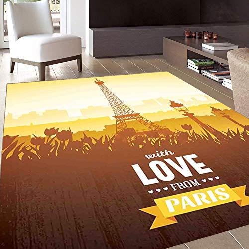 Rug,FloorMatRug,Paris Decor,AreaRug,Eiffel Tower with Tulip and City Silhouette Nostalgic Town Floral Romantic Scene,Home mat,2