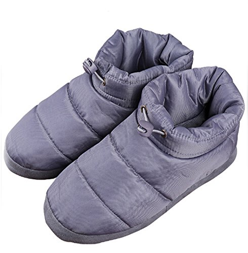 Winter Quilted Down Indoor Slippers for Women Ladies Girls, Waterproof Thick Warm Fleece Lining Anti-skid Snow Ankle Boots Lightweight Cozy House Shoes Thermal Socks Footwear Mules Clog, Size 7-7.5