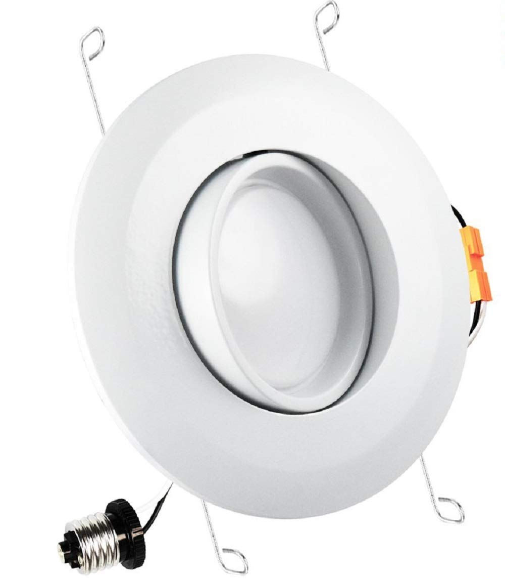 14W 5/6 Inch Gimbal LED Recessed Lighting Fixture 120W Equivalent, 2700K Soft White, 1050 Lumens, Energy Star, Adjustable Downlight, Dimmable, ETL Listed, 1-Piece (2700K)