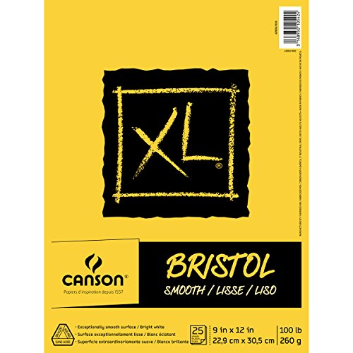 Canson XL Series Bristol Pad, Heavyweight Paper for Ink, Marker or Pencil, Smooth Finish, Fold Over, 100 Pound, 9 x 12 Inch, Bright White, 25 - Pad Bristol Smooth