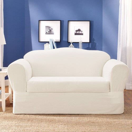 Awesome Surefit Twill Supreme Universal Loveseat Slipcover White Sf37748 Gamerscity Chair Design For Home Gamerscityorg