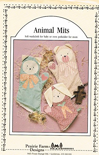 Animal Mitts Washcloths or Oven Potholder Pattern