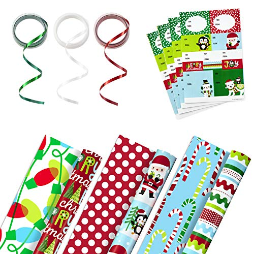 Hallmark Reversible Christmas Wrapping Paper Set with Ribbon and Gift Tag Stickers (3 Rolls of Wrapping Paper and Ribbon; Santa, Penguins, Stripes, Dots)
