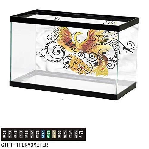 - bybyhome Fish Tank Backdrop Animal,Mystic Bird Phoenix Floral,Aquarium Background,36