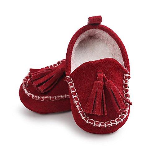 ESTAMICO Zapatos de bebé Bebé niño chica infantil invierno borla Botas zapatos Los zapatos del niño del bebé Rosso