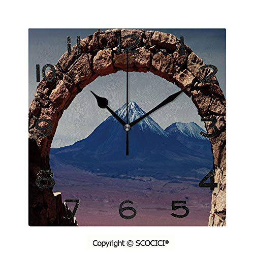 SCOCICI Print Square Wall Clock, 8 Inch South American Desert Landscape with Mountains Seen from Stone Arch Decorative Quiet Desk Clock for Home,Office,School ()